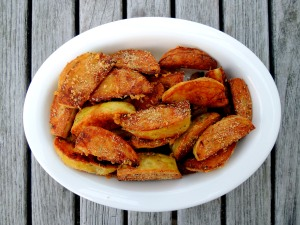 Vegetables, potatoes, roasted potato spears with Parmesan 1