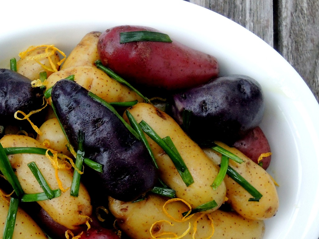 Vegetables, potatoes, steamed new potatoes with chive oil 2