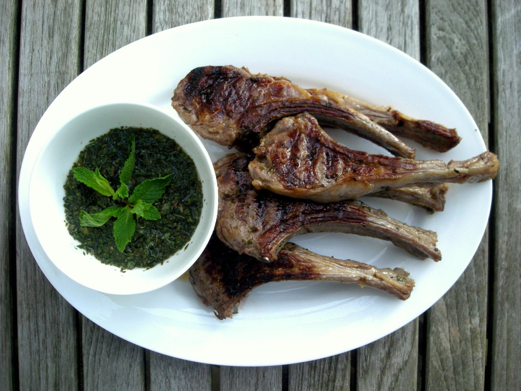 Lamb, pan-grilled rib lamb chops with mint sauces 1