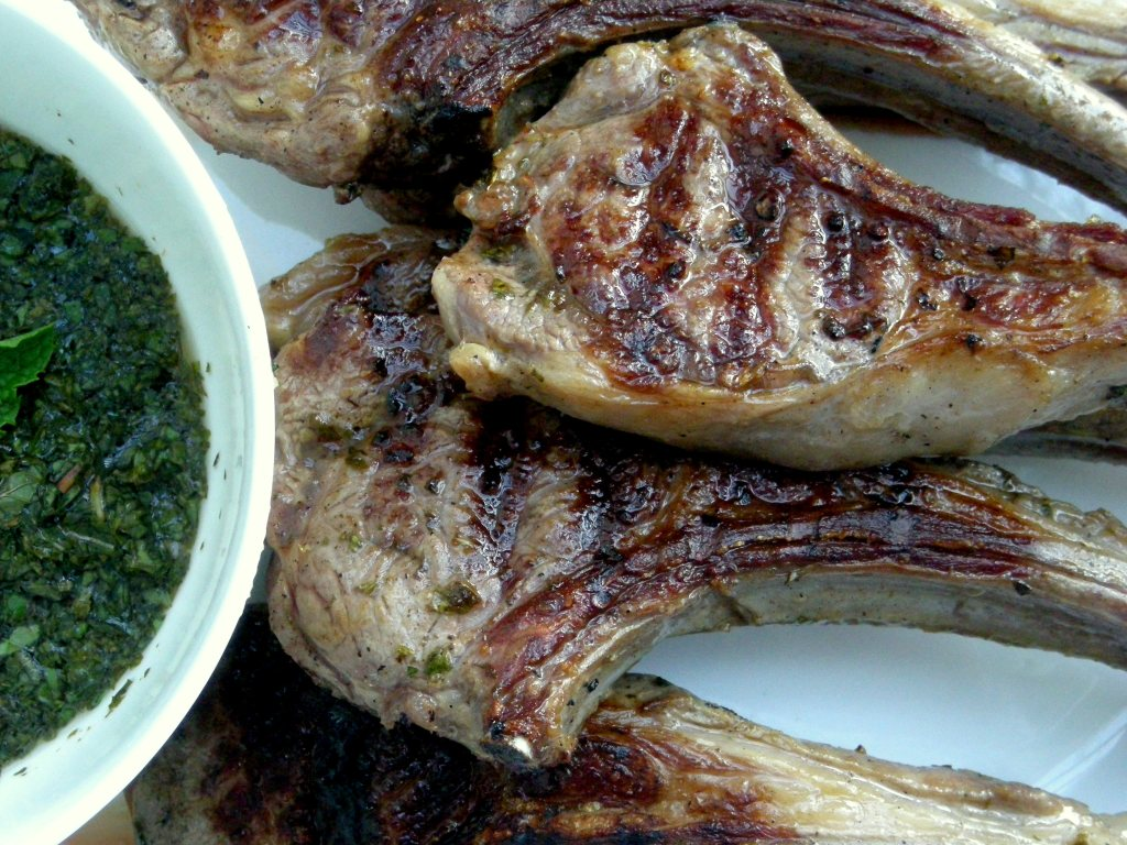 Lamb, pan-grilled rib lamb chops with mint sauces 2