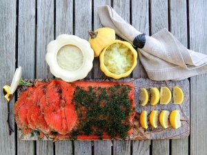 Appetizers, fish, gravlax (Swedish dilled salmon) 1