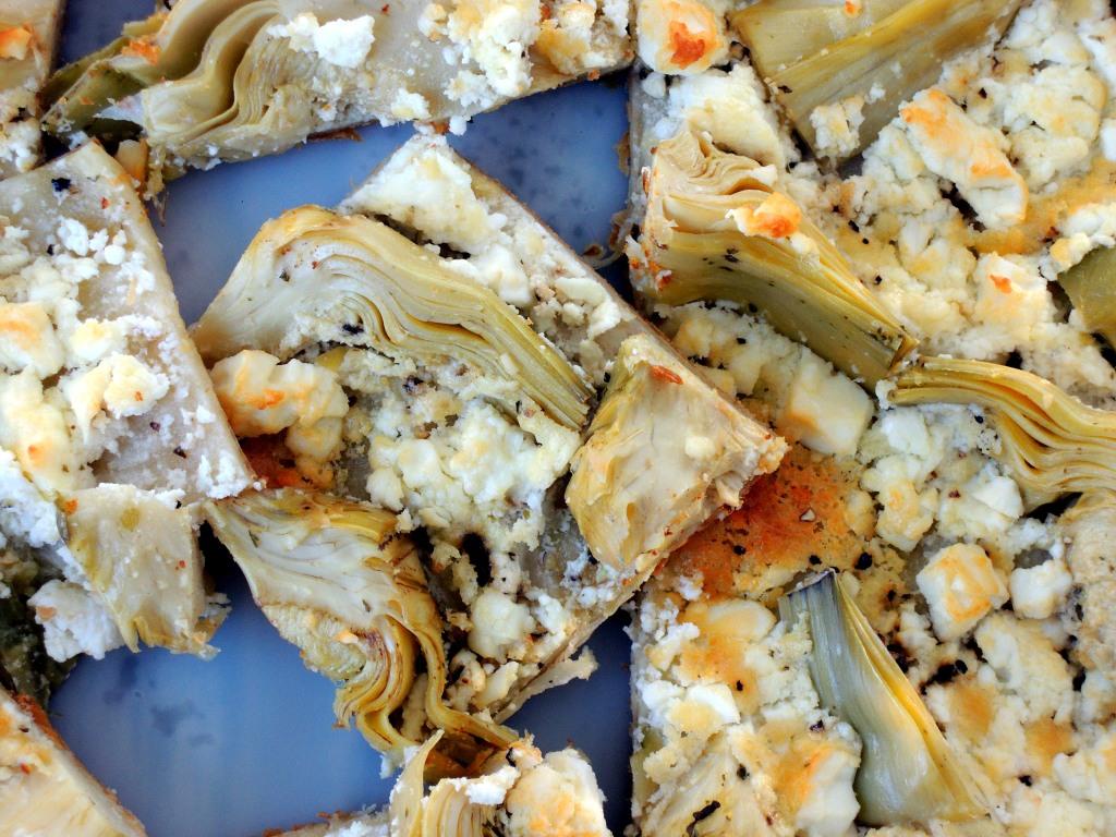 Appetizers, puff pastry, tarts, artichoke and feta tart 3